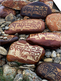 Buddhist Prayers on Carved Mani Stones in Tibet Poster by Craig Lovell