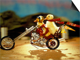 1990s Two Baby Ducklings Riding on Chopper Style Motorcycle Posters