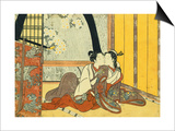 Two Lovers in an Interior by a Yellow Blind Posters by  Harunobu