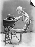 Skeleton Reading at Desk Prints by  Bettmann