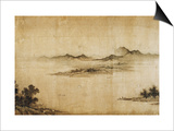 Detail Showing Mountains and Water from a Jin or Yuan Dynasty Painting entitled Clear Weather in th Art by Dong Yuan