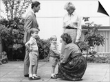 Prince Charles and Princess Diana with Prince William and Prince Harry, meet the headmistress as Ha Print