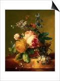 Still Life with a Bouquet of Roses and Other Flowers by Jan van Huysum Poster