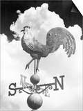 1930s Rooster Gallus Gallus Domesticus Weather Vane Against Backdrop of Cumulus Clouds Prints