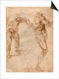 Two Nude Studies of a Man Storming Forward and Another Turning to the Right (Verso) Poster by  Michelangelo Buonarroti