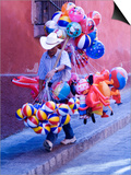 Balloon Vendor Walking the Streets, San Miguel De Allende, Mexico Prints by Nancy Rotenberg