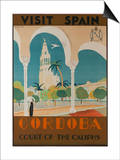 Visit Spain, Cordoba Court of the Caliphs Spanish Travel Poster Affiche