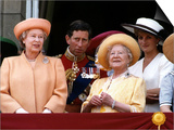 Queen Elizabeth II, Prince Charles and Princess Diana at Buckingham Palace Posters