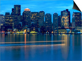 Boat Leaves Light Trail on Boston Harbor at Sunset, Boston, Massachusetts, USA Posters by Nancy & Steve Ross