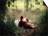 1960s-1970s Boy Fishing with His Dog by His Side Prints by D. Miller