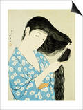 A Half-Length Portrait of a Beauty Combing Her Hair Poster by  Goyo