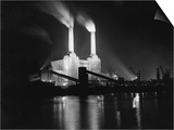 Battersea Power Station Lit up at Night, 1951 Print