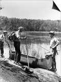 1930s Three Fishermen Standing Beside Canoe Holding Fishing Gear Print