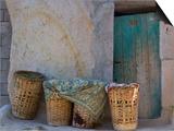 Doorway with Basket of Grapes, Village in Cappadoccia, Turkey Prints by Darrell Gulin