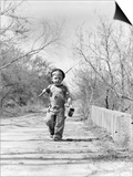 1940s Boy Walking Down Country Road with Can of Worms and Fishing Pole Posters