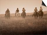 Sepia Effect of Cowboys Riding, Seneca, Oregon, USA Print by Nancy & Steve Ross