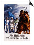 Americans Will Always Fight for Liberty Poster Posters by Bernard Perlin