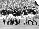 Scotland Football Team Celebrate Scoring Goal in Victory over England at Wembley Prints