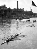 Cambridge Leading Oxford by Two Lengths in the Annual University Boat Race Art
