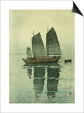 Evening, from a Set of Six Prints of Sailing Boats Prints by Yoshida Hiroshi
