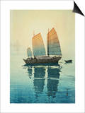 Morning, from a Set of Six Prints of Sailing Boats Posters by Yoshida Hiroshi