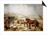 The Farmyard in Winter Print by Edwin Frederick Holt