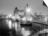 A View of Tower Bridge on the River Thames Illuminated at Night in London, April 1987 Prints