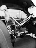 1930s-1940s Still Life of Skeleton Driving Car with Whiskey Bottle and Woman's Shoes on Seat Poster