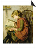 A Young Girl Reading Posters by Charlotte Weeks