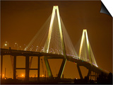 Arthur Revenel Bridge at Night, Charleston, South Carolina, USA Print by Jim Zuckerman