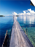 Wooden Jetty Extending off Kadidiri Island, Togian Islands, Sulawesi Poster by Jay Sturdevant