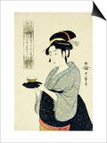 A Half-Length Portrait of Naniwaya Okita, Depicting the Famous Teahouse Waitress Serving a Cup of T Prints by  Utamaro