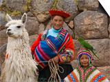 Woman with Llama, Boy, and Parrot, Sacsayhuaman Inca Ruins, Cusco, Peru Poster by Dennis Kirkland