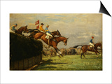 The Grand National Steeplechase: Really True and Forbia at Beecher's Brook Posters by John Sanderson-Wells