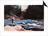Man Fishing a New England Stream by Winslow Homer Prints by Geoffrey Clements