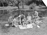 1950s Family with Collie Dog Picnicking in Park by Pond Art