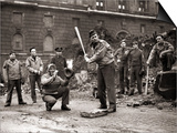 15 American Soldiers Playing Baseball Amid the Ruins of Liverpool, England 1943 Posters