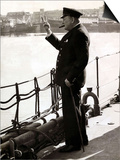 British Prime Minister Winston Churchill Gives Victory Sign in Response, WWII Posters