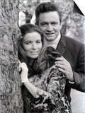 Country Singer Johnny Cash in Britain with Wife June Carter Prints