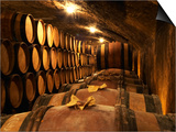 Wooden Barrels with Aging Wine in Cellar, Domaine E Guigal, Ampuis, Cote Rotie, Rhone, France Posters by Per Karlsson