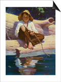 Huckelberry Finn Fishing Print