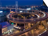 Highway Traffic at Entrance to Nanpu Bridge over Huangpu River, Shanghai, China Posters by Paul Souders