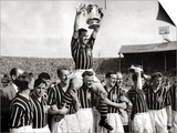 Manchester City Captain Roy Paul Holds Trophy Aloft as He Sits on the Shoulders of His Team Mates Print