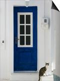 Village Door with Cat, Kokkari, Samos, Aegean Islands, Greece Art by Walter Bibikow