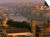 Ponte Vecchio Bridge, Arno River, Piazza Michelangelo, Florence, Tuscany, Italy Print by Walter Bibikow