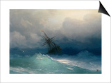 Ship on Stormy Seas Art by Ivan Konstantinovich Aivazovsky