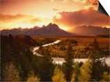 Teton Range at Sunset, Grand Teton National Park, Wyoming, USA Prints by Adam Jones