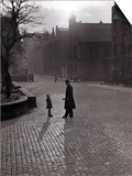 Policeman Talking to Lost Child on a Cobbled Street in Edinburgh, Scotland Posters