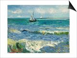 Seascape Near Les Saintes-Maries-De-La-Mer Poster av Vincent van Gogh