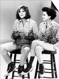 Judy Garland Actress Singer and Barbra Streisand Singer Sitting on Stools Singing Together Posters